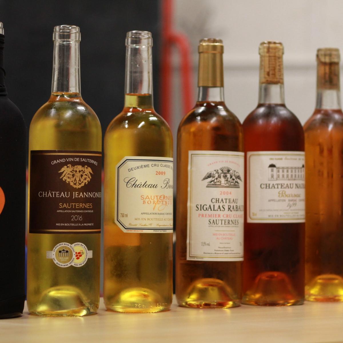 Nairac, Sigalas-Rabaud, Broustet : 3 des 6 bouteilles de Sauternes et Barsac dégustées